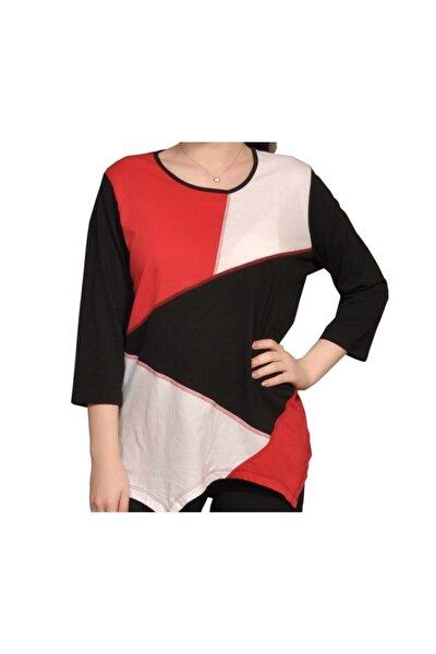 Kadın Renk Bloklu Asimetrik Kesim Bluz