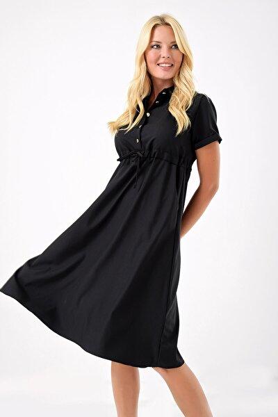 Siyah Belden Büzgülü Elbise
