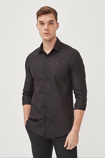 Erkek Siyah Düz Klasik Yaka Slim Fit Gömlek E002002