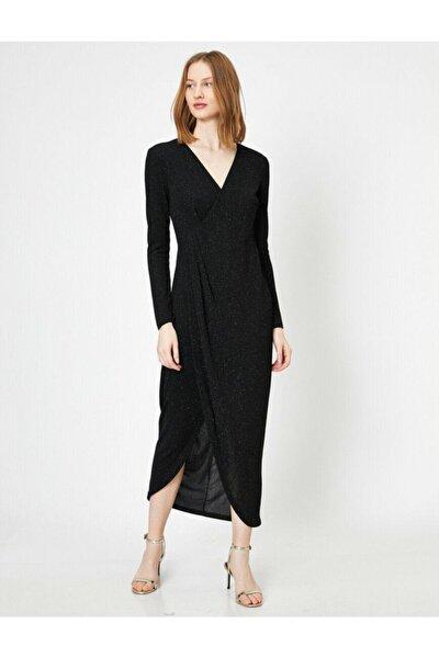 Kadın Siyah Yirtmaç  Detayli Elbise 0YAK84042FK