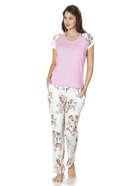 Kadın Pembe Kısakol Çiçekli Viskoz Pijama Takımı