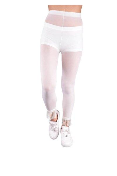 Paçası Püsküllü Tayt Külotlu Çorap 773 | Beyaz