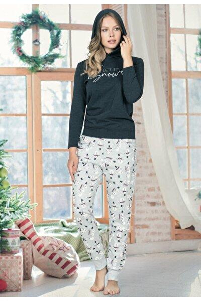 Kadın Turkuaz Kapüşonlu Pamuk Pijama Takımı