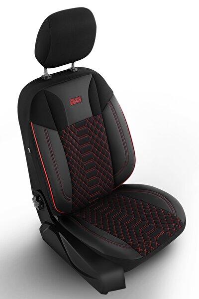 Special Oto Koltuk Kılıfı - Modena Serisi - Siyah Renk Kırmızı Nakış