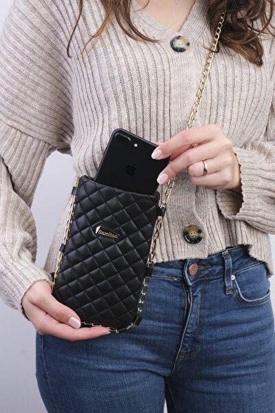 Siyah Zincirli Telefon Çantası