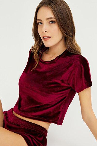 Vişne Kadife Crop Top T-shirt Şortlu Takım
