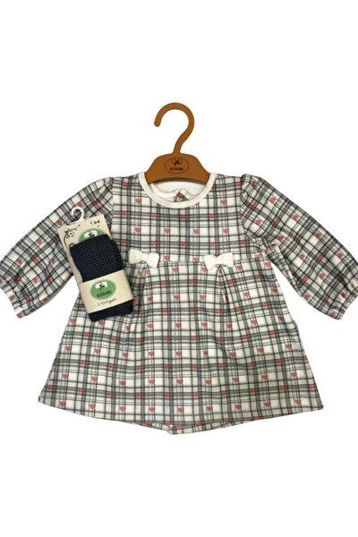 Kız Bebek Kareli Organik Elbise Ve Çorap Takım