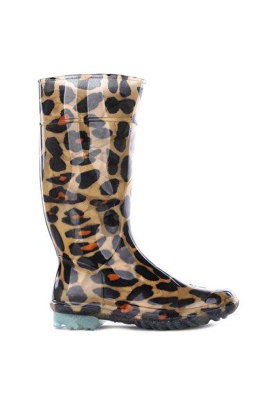 Kadın Yağmur Çizmesi Desenli Leopar