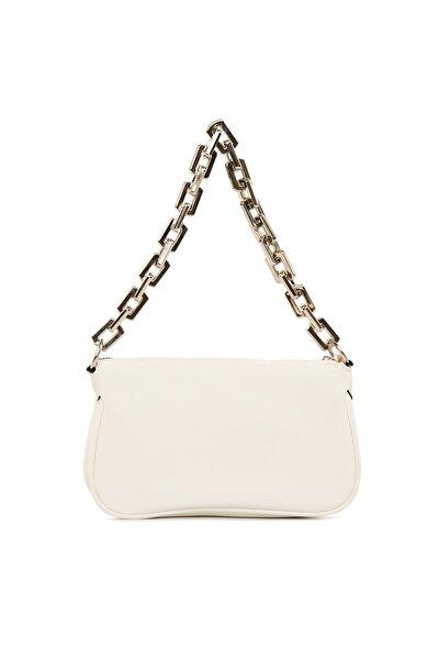 Beyaz Plastik Zincirli Saten Baget Baguette El Ve Omuz Çantası Gc012101