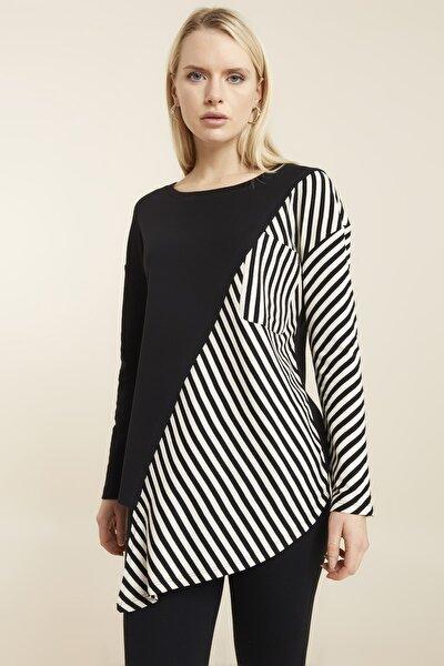 Çizgili Siyah Bloklu Asimetrik Örme Bluz