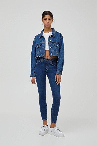 Kadın Mavi Pamuklu Basic Push Up Jean