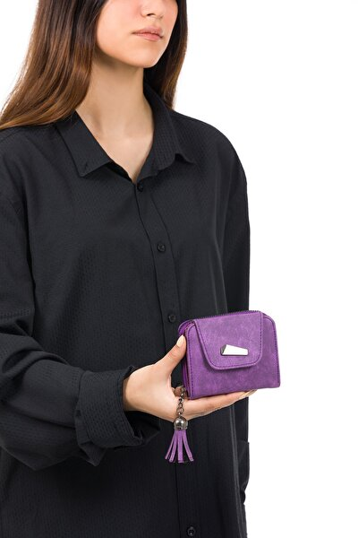 Kadın Mor Kartlıklı Mini Cüzdan