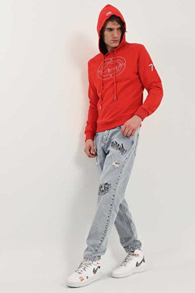 Houston Hoodıe Kırmızı Erkek Nakışlı Kapüşonlu Sweatshirt