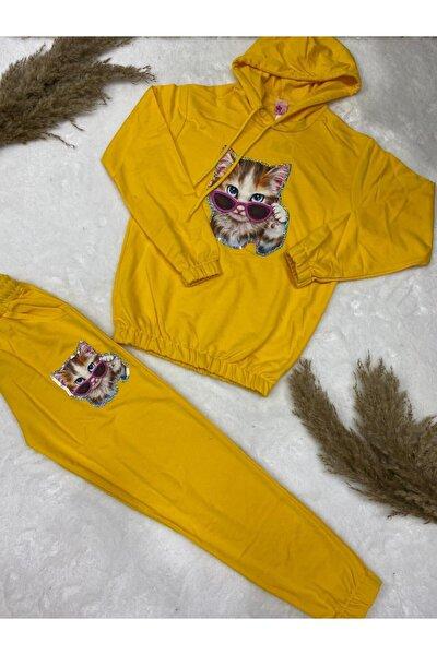 Kız Çocuk Kedili Pijama Takım