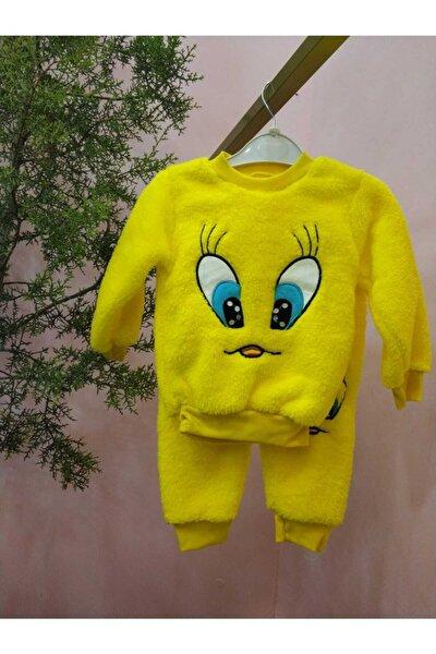 Çocuk-Bebek Tweety Nakışlı Kışlık Peluş Takım