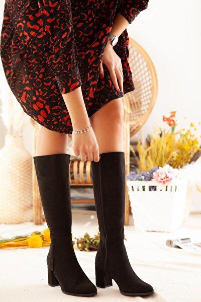 Natasha Siyah Süet Dizaltı Çizme