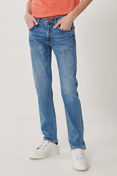 Daren Erkek Koyu Mavi Straight Fit Normal Bel Düz Paça Esnek Jean Pantolon