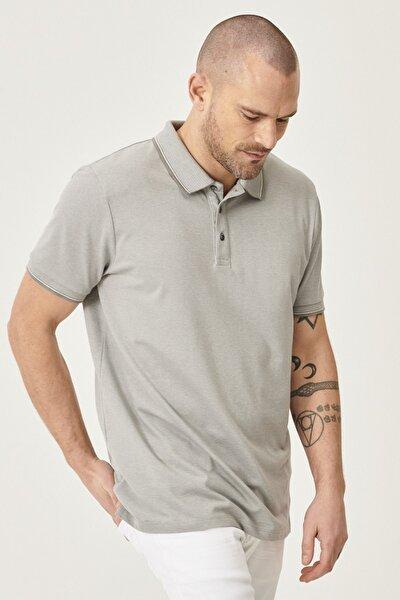 Erkek Gri Düğmeli Polo Yaka Cepsiz Slim Fit Dar Kesim Düz Tişört