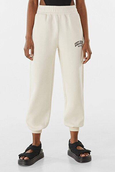 Kadın Kum Rengi Pamuklu Baskılı Jogging Fit Pantolon 00086539