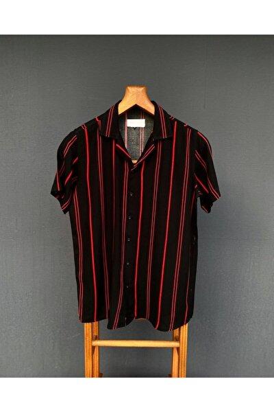 Erkek Siyah Kırmızı Çizgili Gömlek
