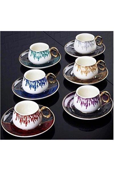 Ares Serisi 6'lı Porselen 6 Renk Kahve Fincanı Takımı