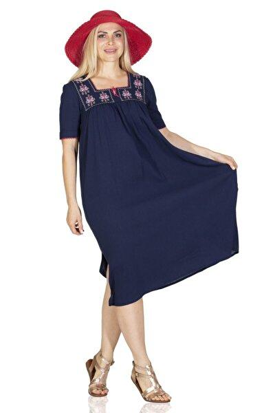 Kısa Kol Şile Klasik Elbise Lacivert