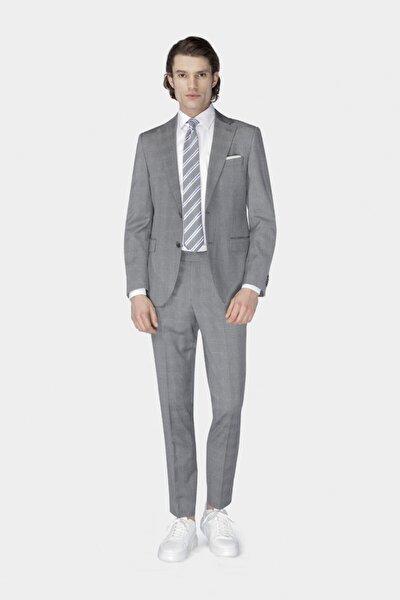 Erkek Gri Beyaz Ekoseli Takım Elbise