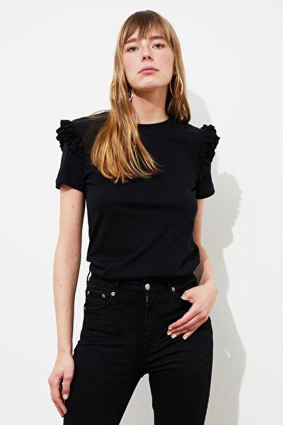 Siyah Basic Örme T-Shirt TWOSS21TS2130