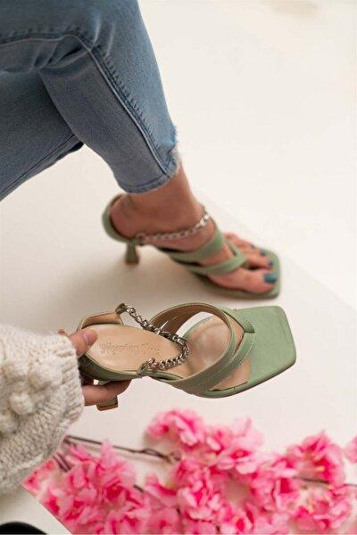 Kadın Gillian Yeşil Mat Parmak Arası Bilek Bağlı Topuklu Ayakkabı