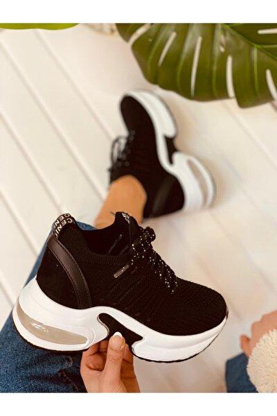 Kadın Siyah Triko Sneakers