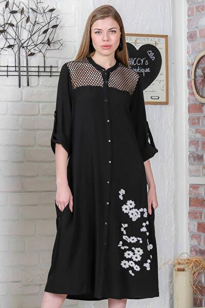 Kadın Siyah Robası File Detaylı Düğmeli Çiçek Nakışlı Dokuma Uzun Elbise M10160000EL95358