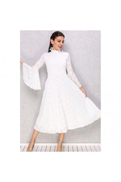Edenia Kadın Beyaz Ispanyol Kol Güpürlü Abiye Elbise
