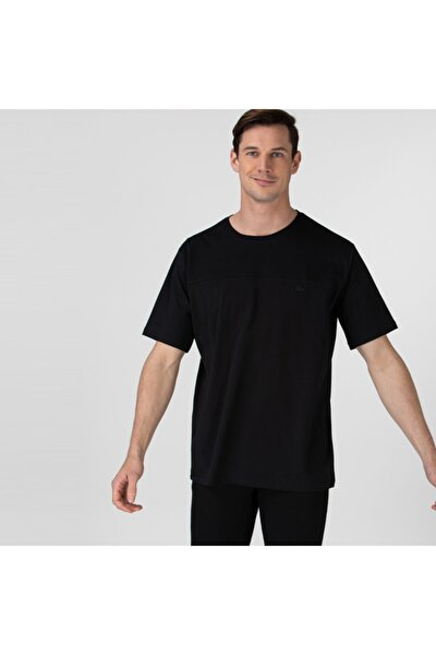 Erkek Rahat Fit Bisiklet Yaka Baskılı Siyah T-shirt