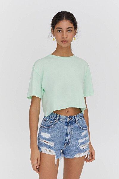 Kadın Yeşil Biyeli Dikişli Crop Fit T-shirt