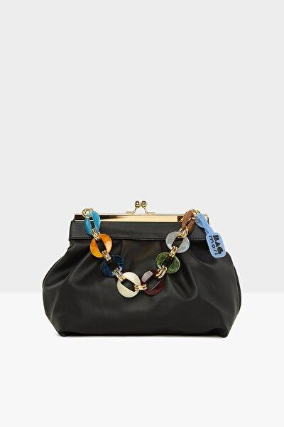 Siyah Kadın Yatay Burslu Askik Aksesuarlı Klasik Çanta M000005738
