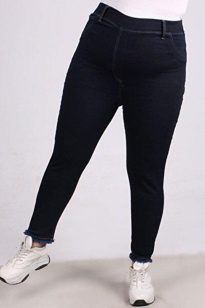 Kadın Lacivert  Büyük Beden Beli Lastikli Püsküllü Dar Paça Kot Pantalon-   9138