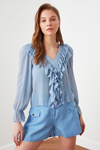 Mavi Volanlı Bluz TWOSS21BZ0502