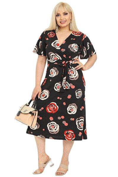 Kadın  Büyük Beden Kruvaze Yaka Çiçek Desen Viskon Midi Elbise