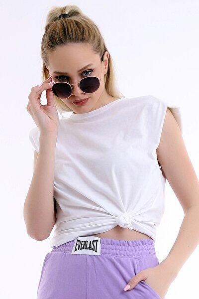 Kadın Beyaz Özel Tasarım Yuvarlak Yaka Kolsuz Bol Kesim Şık Vatkalı Bluz