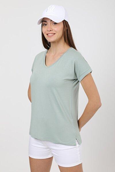 Kadın Mint Yeşil V Yaka Yırtmaç Detaylı Basic T-shirt
