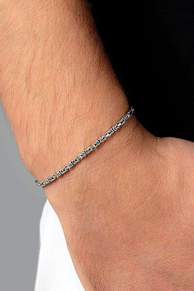 Erkek Kral Kare Gümüş Zincir Bileklik Veb-5001