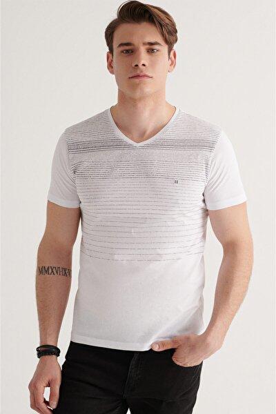 Erkek Beyaz V Yaka Degrade Çizgili T-shirt A11y1106