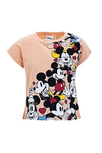 Kız Çocuk Pembe Mickey Mouse Lisanslı Crop Kısa Tişört