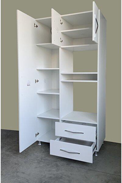 Beyaz Ankastre Fırın Mikrodalga Mutfak Dolabı