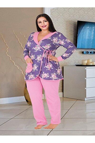 Kadın Pembe Büyük Beden Battal Pijama Takımı