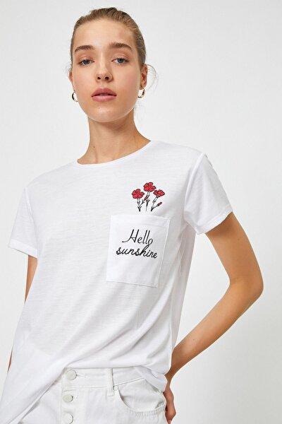 Kadın Baskılı Cepli Ekru T-shirt 0yak13784ek