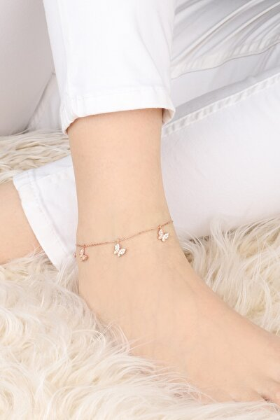 Kadın Rose Kelebek Model 925 Ayar Gümüş Halhal