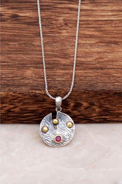 Kadın Çekiç Dövme Tasarım Gümüş Kolye 6509