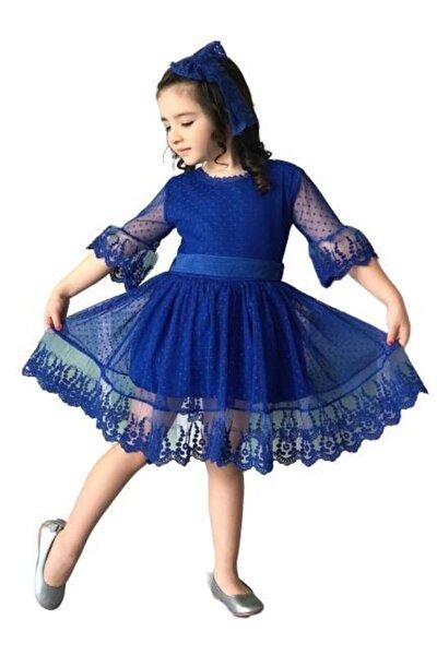 Kız Çocuk Prenses Güpürlü Saks Elbise