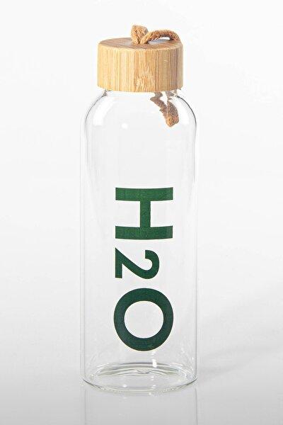 H2o Borosilikat Cam Kılıflı Matara Bambu Kapaklı Su Şişesi 600ml